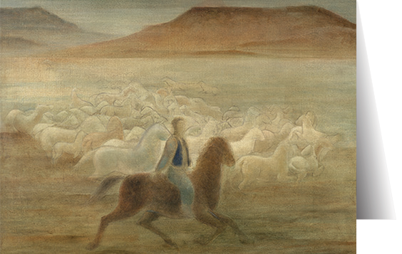 Horses in Moonlight by Frank Mechau