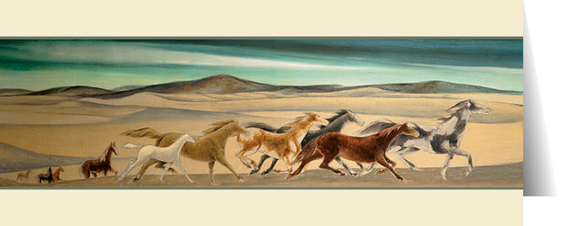 Horses Crossing Dunes by Frank Mechau