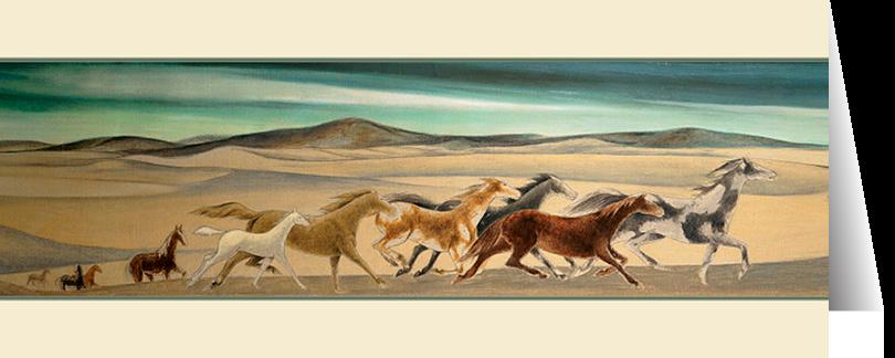 Horses Crossing Dunes by Frank Mechau